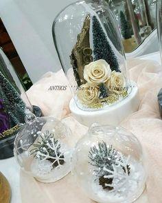 Άνθος Θεσσαλονίκη New Year Is Coming, Ivory Roses, Christmas Rose, Christmas Decorations, Table Decorations, White Marble, Flower Art, Snow Globes, Greece Thessaloniki