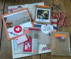 Voor Rachel (USA), hollands thema  Mei 2015  Een gulden, een stroopwafel, polaroids van typisch Hollandse dingetjes, een foto van de IJssel bij mijn woonplaats, een.kaart en een brief.