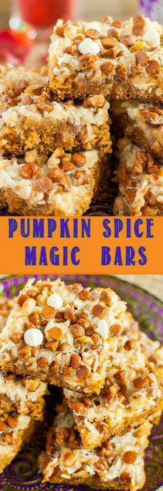fall desserts Pumpkin Spice Magic Bars are similar to the classic seven layer bars, but these are all dressed up for fall! A gooey, chewy, easy fall dessert recipe! Fall Dessert Recipes, Fall Desserts, Just Desserts, Holiday Recipes, Delicious Desserts, Bar Recipes, Fall Snacks, Thanksgiving Desserts, Holiday Foods