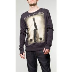 Religion Clothing Boots Sweat in deep grey with thumbholes. Photo print and Religion branding to the front, crucifix stitching to the back Religion Clothing, Crucifix, Tat, Casual Wear, Stitching, Lion, Trousers, Branding, Deep
