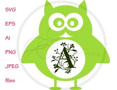 SVG Monogram Owl Vector Files, Owl Monogram EPS, PNG for Cutting Machines, Cutting Files Owl, Silhouette Monogram Owl