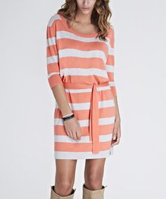 Look at this #zulilyfind! Coral & Silver Stripe Monica Dress #zulilyfinds