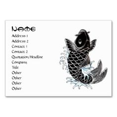SOLD! - Cool oriental japanese black ink lucky koi fish business card template #businesscard #business #card #profile #template #office #koi #tattoo #ink #black #elegant #simple #stylish #oriental #japanese #cartoon