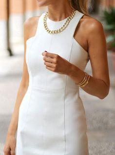 Prom & Graduation Style Tipps - Frauen Mode - New Ideas Mode Chic, Mode Style, White Sheath Dress, Sheath Dresses, White Dress Outfit, Zara Dresses, 1960s Dresses, White Sleeveless Dress, White Outfits