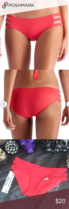 NWT vitamin a coral bikini bottoms ✖️ brand new with tags ✖️  all clothing is either NWT or has been washed + sanitized, then kept in a 🐾PET FREE and 💨SMOKE FREE environment .  💰 too expensive , gonna break da bank ? Then add me to a 🛍 b u n d l e 🛍 or use the offer button   🗑 n o  l o w  b a l l i n g 🗑 REASONABLE offers accepted . Do NOT ask offer at 40% below asking price . It's r u d e .    🚫 🙅🏻 N O    T R A D E S 🙅🏻 🚫 Vitamin a Swim Bikinis