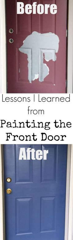 100 Room Challenge Painting the Front Door Blue Step-by-step tutorial on repainting the front doo Front Door Colors, Front Door Decor, Front Door Makeover, House Front Door, Balkon Design, Painted Front Doors, Painted Storm Door, Up House, Sage House
