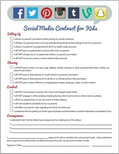 Social media contract-The Middle School Guidance Office Social Media Safety, Social Skills, Middle School Counselor, School Counseling, Guidance Office, Internet Safety For Kids, School Social Work, Guidance Lessons, School Psychology