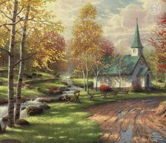 Thomas Kinkade The Aspen Chapel painting is shipped worldwide,including stretched canvas and framed art.This Thomas Kinkade The Aspen Chapel painting is available at custom size. Paintings I Love, Beautiful Paintings, Art Paintings, Thomas Kinkade Art, Kinkade Paintings, Thomas Kincaid, Art Thomas, Aspen Trees, Church Building