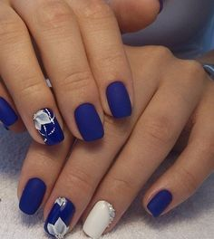 Blue Nail Art Ideas for 2018 – Top 150 Designs Blue And Silver Nails, White Lace Nails, Cobalt Blue Nails, Royal Blue Nails Designs, Blue Wedding Nails, Punk Nails, Queen Nails, Bridal Nail Art, Beautiful Nail Designs