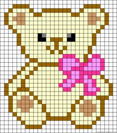 "Teddy bow perler bead pattern ""Pixel ours Teddy"" Alpha Patterns, Loom Patterns, Beading Patterns, Embroidery Patterns, Crochet Pixel, Crochet Chart, C2c Crochet, Pixel Art Ours, Knitting Charts"