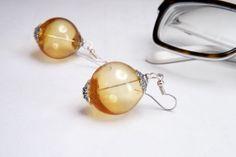 boho bubble honey hollow glass earrings by amabito on Etsy, €18.00