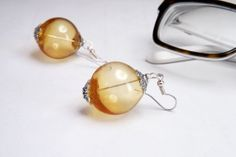 boho bubble earrings honey hollow glass - golden hollow artisan glass beads on Etsy, $23.70