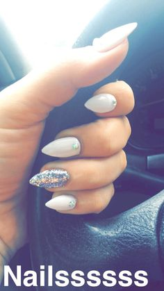 White stiletto nails