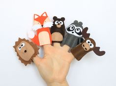 Felt finger puppets set - Forest Mates - - pack of 5 by MiracleInspiration on Etsy https://www.etsy.com/listing/203211908/felt-finger-puppets-set-forest-mates