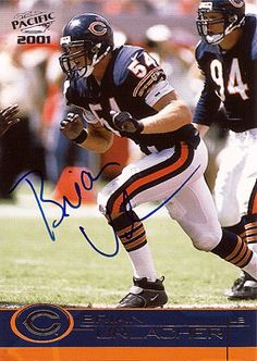 NFL Football 8x Pro-Bowler Brian Erlacher Autograph Hand Signed Chicago Bears Card