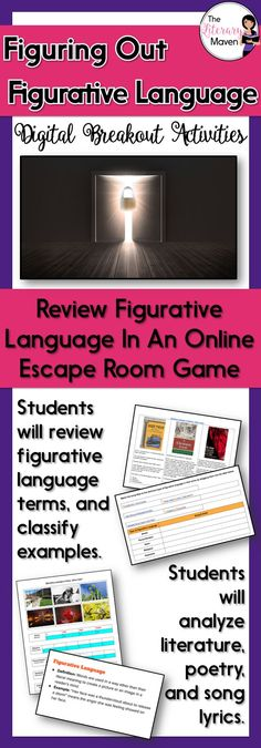 This digital breakout is intended for reinforcing the difference between figurative and literal language as well as the types of figurative language: simile, metaphor, personification, hyperbole, understatement, and idioms. In this Escape Room-like game, students will interact with a variety of text and media to find the codes that will unlock a series of locks. This unique activity will require students to think creatively and work collaboratively.