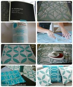 How-to Steps for Stenciling a Pillow from cloth napkins | Royal Design Studio Stencils