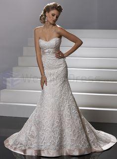 Embellished Satin Strapless Soft Sweetheart Neckline Slim A-line Wedding Dress
