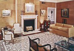 Mark Hampton~A collaboration with David Hicks on this living room is apparent given the graphic patterned area rug, camel color scheme, restrained decor and modern edge. David Hicks, Interior Architecture, Interior Design, Eclectic Design, Furniture Layout, Home Projects, The Hamptons, Color Schemes, Design Inspiration