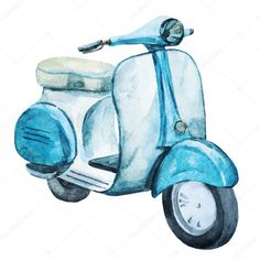 Beautiful vector image with nice watercolor vintage scooter
