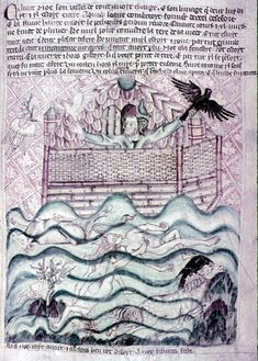 A 14th Century English manuscript showing Noah's Ark at the end of flood