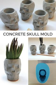 Reusable concrete skull silicone molds. Perfect flower pot or pencil holder. Modern and stylish decoration. #ad #concrete #siliconemold #concretedecoration #cement #homedecor #skull #skulldecor #flowerpot #planter  #pencilholder