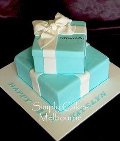Tiffany Box Wedding Cake   Simply Cakes Melbourne: Two tier Tiffany Cake box