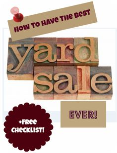 FREE Yard Sale Checklist + How to Have the Best Yard Sale Ever! there is a stupid 13 second repeating video that auto-plays on a low volume. It took me forever to find the dumb tab with it on there, so be forewarned and save your sanity. Garage Sale Tips, Rummage Sale, Sell Your Stuff, Moving Tips, Saving Ideas, Spring Cleaning, Getting Organized, Yard Sales, Decoration