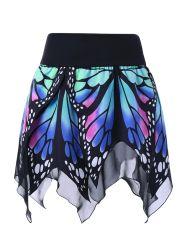 Butterfly Pattern Handkerchief Skirt - BLUE