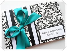 Black White and Teal Damask Wedding Guest Book by ModernShabby