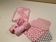 Chevron baby quilt, burp cloths and sushi roll changing pads to match