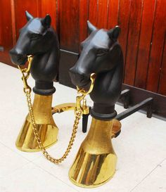 ANTIQUE VINTAGE BRASS HOOF IRON HORSE EQUINE HEAD ANDIRON FIRE DOGS #HorseHeadBustHoovesBase