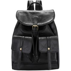 FC Select Design New Vegan Leather Drawstring Double Pocket Backpack (350 RON) ❤ liked on Polyvore featuring bags, backpacks, bolsas, drawstring bags, vegan backpack, draw string backpack, drawstring backpacks and buckle backpack