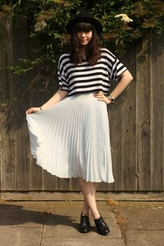 striped crop top, pleated midi skirt and oxfords.