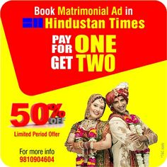 Book matrimonial Ad in newspaper and bast offer