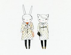 Fifi Lapin and Ruby Gatta wear Orla Kiely
