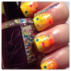 Nail art for Short nails - Summer Gradient www.kraftygurldesigns.com