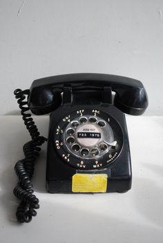 Black Rotary Phone  Telephone Office Desk Table Talk by hunterdear, $30.00