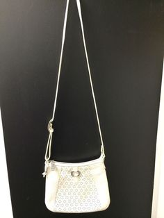 Brighton Winter White Pebbled Leather Crossbody Diasy Cut-out #Brighton #Crossbody