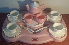 VHTF Little Tikes Vintage Pink Victorian Elegant Tea Set w/ Lazy Susan Tray RARE…