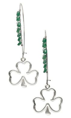 Earrings with Emerald Gemstone Beads, Silver-Plated ''Pewter'' Shamrock Charms and Wire Wrap