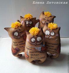 Купить Кофейные котики с афоризмами-2 - коричневый, чердачная игрушка, кофейная игрушка, ароматизированная игрушка