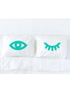 Pillow Talk: Winking Eyes Printed Pillowcase Set