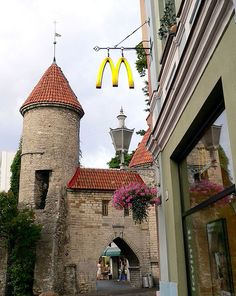 """Medieval McDonald's,"" Old Town, Tallinn, Estonia. Hmmmm... I don't eat fast food but I would go in here & drink coffee. :)"