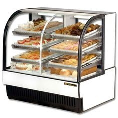 refrigerated case,  Features and Benefits:        Two slide glass rear doors        Capacity of 13.5 cubic feet        White aluminum laminated exterior        Stainless steel top        White vinyl-coated aluminum interior        6 heavy duty adjustable wire shelves        Fluorescent interior lights        Self-contained system        Model dimensions: 50-7/8 inch width x 35-1/2 inch depth x 47-7/8 inch height        Power features: 1/3 Horsepower, 14.0 Amps