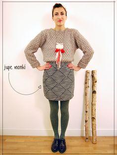 monki geometric skirt scarf kiss