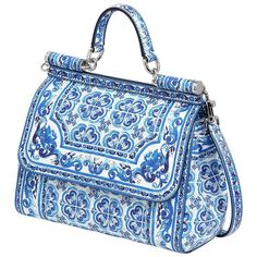 DOLCE & GABBANA Medium Sicily Dauphine Leather Bag - Blue/White ($2,030) ❤ liked on Polyvore