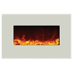 Amantii 26  Fire & Ice Wall/Built In Fireplace - White Glass Surround