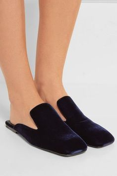 Heel measures approximately 10mm/ 0.5 inch Midnight-blue velvet Slip on Designer color: Golfo Made in ItalyAs seen in The EDIT magazine