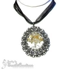 Helms Weave Chainmaille Pendant with Citrine Stone Tree of Life